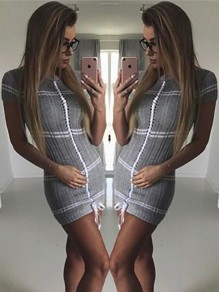 Grey Patchwork Drawstring Peter Pan Collar Short Sleeve Fashion Mini Dress