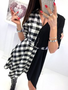 Black Plaid Belt Irregular V-neck Long Sleeve Casual Midi Dress