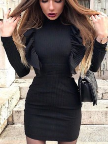 Black Ruffle Round Neck Long Sleeve Fashion Mini Dress