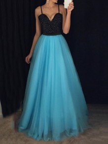 Blue Patchwork Grenadine Sequin Spaghetti Strap Backless Sparkly Glitter Prom Evening Party Maxi Dress