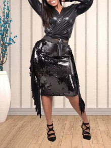 Black Patchwork Sequin Tassel Two Piece V-neck PU Leather Latex Vinly Long Sleeve Clubwear Party Midi Dress
