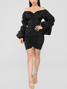 Black Pleated Off Shoulder Backless Lantern Sleeve Bodycon Scuba Elegant Party Mini Dress