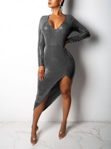 Grey Patchwork Sequin Irregular Bodycon Sparkly Glitter V-neck Long Sleeve Party Clubwear Maxi Dress