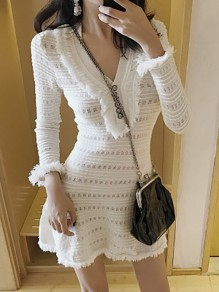 White Floral Single Breasted Ruffle Long Sleeve Deep V-neck Collarless Midi Dress