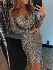Golden Patchwork Sequin Irregular V-neck Long Sleeve Clubwear Sparkly Glitter Birthday Party Maxi Dress