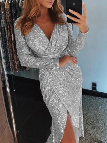 Silver Sequin Irregular V-neck Long Sleeve Sparkly Glitter Clubwear Birthday Party Midi Dress
