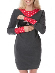 Dark Grey Polka Dot Print Bow Round Neck Long Sleeve Casual Maternity Mini Dress