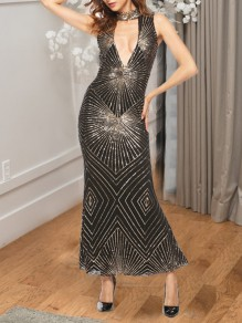 Black-Golden Patchwork Sequin Halter Neck Bodycon Elegant Party Maxi Dress