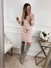 Pink Drawstring Pockets Round Neck Long Sleeve Fashion Mini Dress