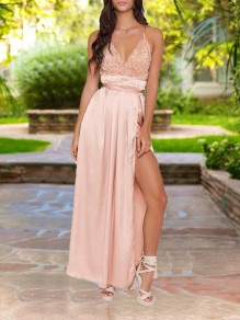 Apricot Patchwork Sequin Spaghetti Strap Backless Pleated V-neck Sparkly Glitter Birthday Elegant Party Maxi Dress