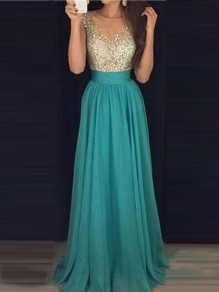 Green Patchwork Sequin Glitter Grenadine Draped Sleeveless Elegant Prom Maxi Dress