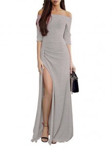 Silver Slit Off Shoulder 3/4 Sleeve Elegant Maxi Dress