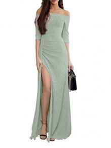 Green Slit Off Shoulder 3/4 Sleeve Elegant Maxi Dress