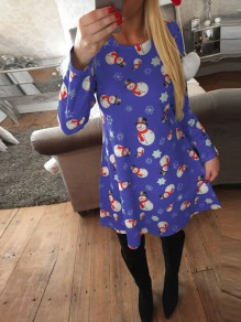 Blue Christmas Snow Man Print Snowflake Print Round Neck Fashion Midi Dress