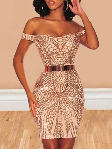 Rose Gold Geometric Glitter Off Shoulder Backless Sparkly Bodycon Birthday Party Mini Dress
