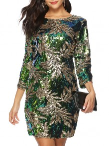 Green Sequin Round Neck Long Sleeve Going out Mini Dress