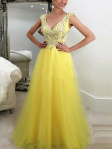 Yellow Patchwork Sequin Draped Grenadine Condole Belt V-neck Sleeveless Elegant Maxi Dress