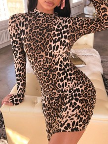 Khaki Leopard Print Round Neck Long Sleeve With Glove Bodycon Fashion Clubwear Cheetah Mini Dress