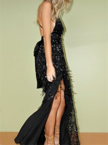 Black Patchwork Sequin Tasse Back Bow Spaghetti Strap Backless Deep V Neck Floor Length Maxi Dress