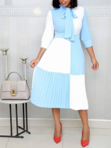 Light Blue Color Block Bow Pleated Long Sleeve Elegant Church Party Maxi Dress