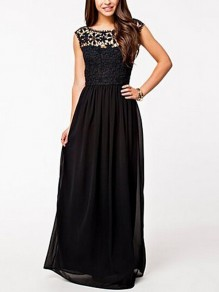 Black Lace Draped Backless Round Neck Sleeveless Elegant Maxi Dress