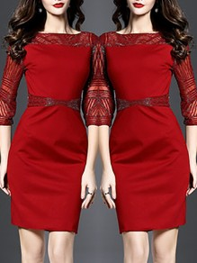 Red Plaid Beading Three Quarter Length Sleeve Round Neck Casual Midi Dress