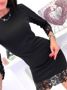 Black Patchwork Lace Round Neck Long Sleeve Fashion Mini Dress