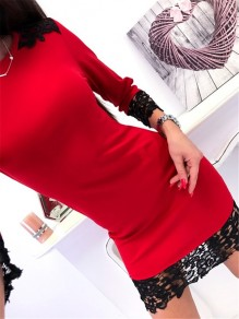 Red Patchwork Lace Round Neck Long Sleeve Fashion Mini Dress