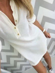 White Buttons V-neck Long Sleeve Fashion Mini Dress