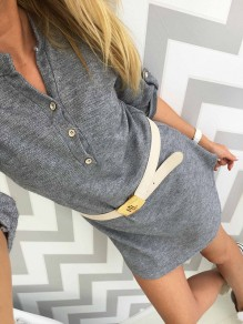Grey Buttons V-neck Long Sleeve Fashion Mini Dress