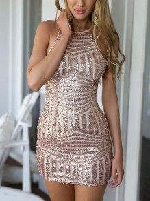 Champagne Geometric Sequin Halter Neck Cross Back Backless Sparkly Glitter Birthday Party Mini Dress