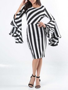 Black-White Striped Plus Size Bell Sleeve Round Neck Office Worker/Daily Fashion Midi Dress