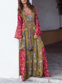 Green-Red Tribal Floral Pattern Deep V-neck Flare Sleeve Flowy Bohemian Maxi Dress