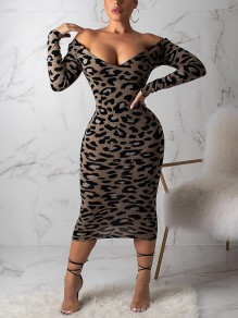 Leopard Print Off Shoulder Bodycon Long Sleeve Party Maxi Dress