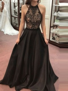 Black Patchwork Lace Draped Tie Back Backless Round Neck Sleeveless Elegant Maxi Dress