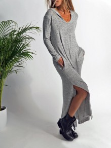 Grey Pockets Slit Hooded Long Sleeve Casual Maxi Dress