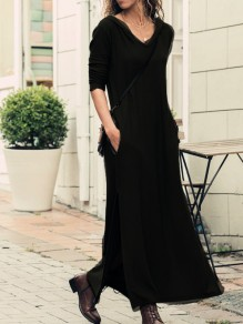 Black Pockets Slit Hooded Long Sleeve Casual Maxi Dress