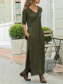 Army Green Pockets Slit Hooded Long Sleeve Casual Maxi Dress