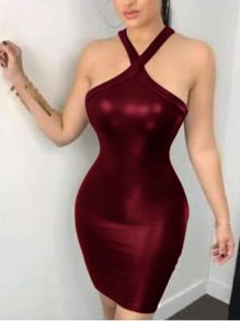 Burgundy PU Leather Cut Out Halter Neck Backless Bodycon Latex Rubber Mini Dress
