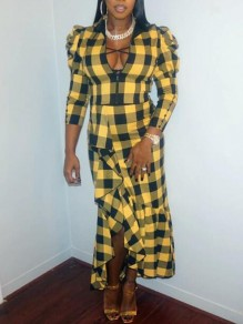 Yellow-Black Plaid Zipper Irregular Ruffle Two Piece Mock Collared Casual Maxi Dress