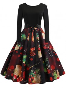 Black Floral Bow Print Collarless Long Sleeve Party Midi Dress