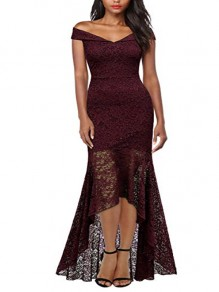 Burgundy Patchwork Lace Cut Out Zipper V-neck Cap Sleeve Homecoming Party Elegant Midi Dress