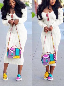 White Slit Back Off Shoulder V-neck Long Sleeve Ankle Length Fashion Sweather Maxi Dress