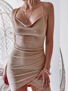 Khaki Irregular Spaghetti Straps Backless Bodycon Party Mini Dress