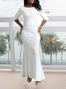 White Rhinestone Pearl Mermaid Plus Size Bodycon Elegant Party Maxi Dress