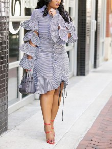 Blue-White Striped Drawstring Cascading Ruffle Long Sleeve Peplum Buttons Hooded Below Knee Fashion Midi Dress