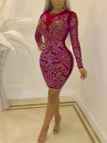 Red Patchwork Rhinestone Bodycon Long Sleeve Round Neck Sparkly Glitter Birthday Party Mini Dress