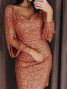 Golden Tassel V-neck Long Sleeve Sequin Casual Evening Mini Dress