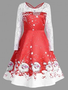 Red Patchwork Lace Flowers Print Round Neck Long Sleeve Christmas Party Midi Dress