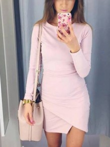 Pink Tiered Ruched Irregular Round Neck Long Sleeve Cocktail Mini Dress